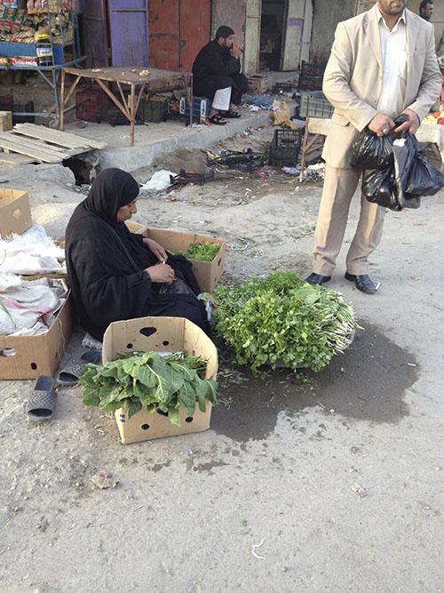 Säljer örter på marknaden i Shough al Shouk, Nasriyah