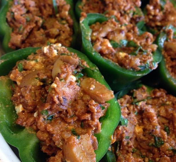 Vegetariska fyllda paprika
