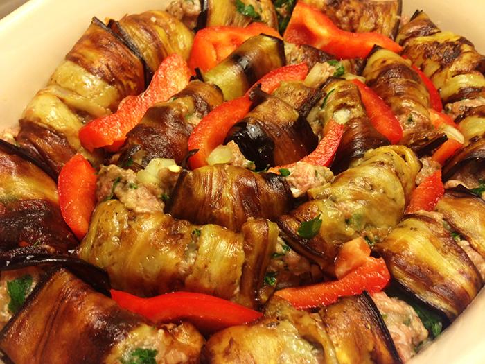 Auberginerullader med köttfärs a'la kebab