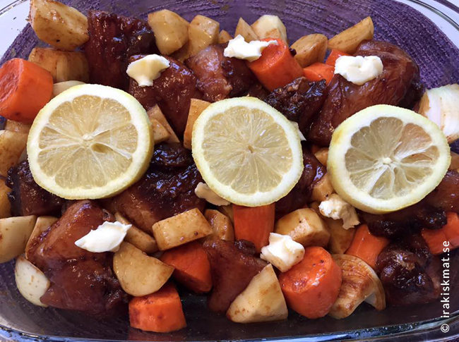 Kyckling med morötter och potatis, ugnsrätt som sköter sig själv