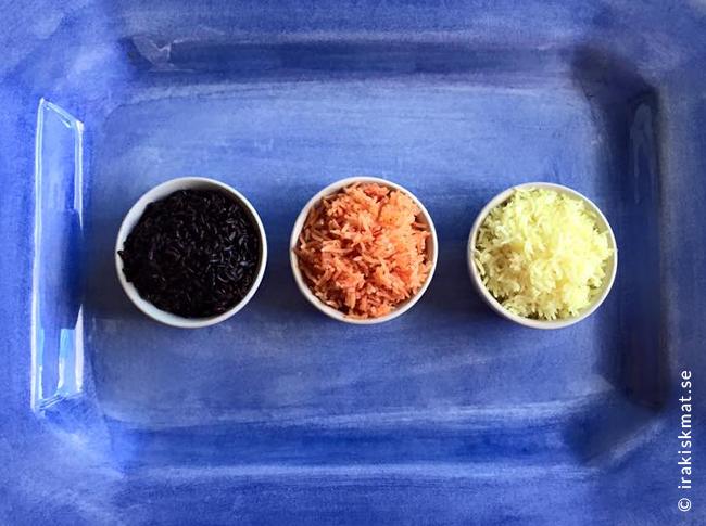 Tricoloreris, vitt, rött och svart ris