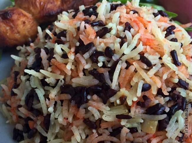 Tricolore-ris, tre sorters ris, vitt, rött och svart