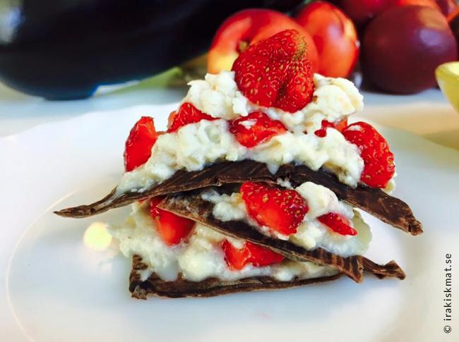Lyxiga chokladflarn med mascorpone och jordgubbar, sockerfritt