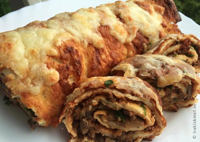 Godaste pannkaksrullen med köttfärs- och champinjonfyllning