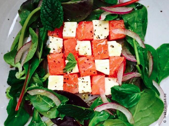 Fetaost och vattenmelon sallad