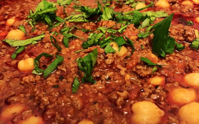 Variant på chili con carne med kikärtor